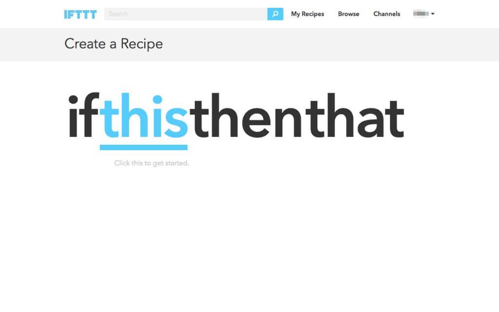 IFTTTのレシピ作成画面