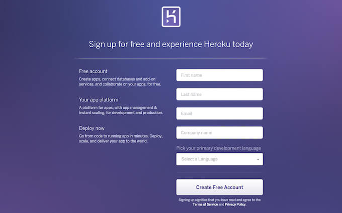 Heroku | Sign up