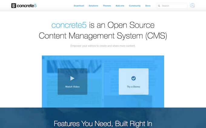 concrete5 is a CMS Content Management System that is free and Open Source